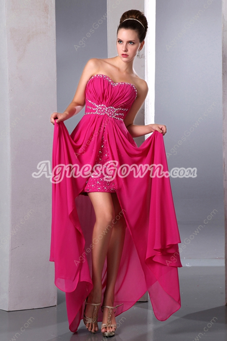Pretty Sweetheart High Low Fuchsia Prom Dress