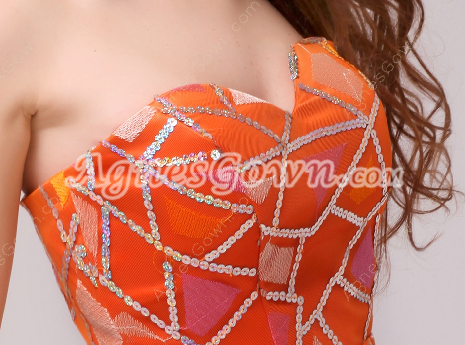 Special Sweetheart A-line Short Length Orange Homecoming Dress