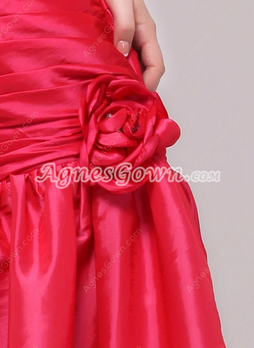 Lovely Dipped Knee Length Hot Pink Taffeta Damas Dress