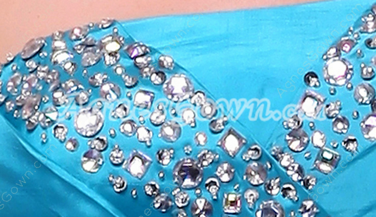 Suitable Tea Length Blue Satin Junior Prom Dress With Beads