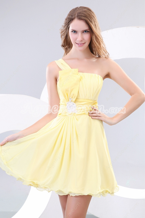 Marvelous Single Straps Yellow Homecoming Dress