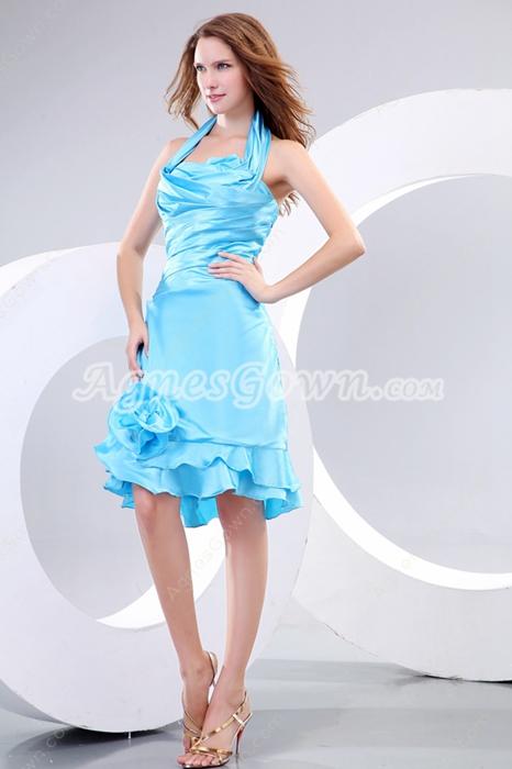 Top Halter Knee Length Blue Wedding Guest Dress