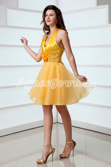Top Halter Puffy Mini Length Gold Quinceanera Dress For Damas