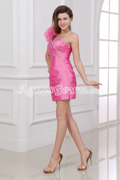 Modern One Shoulder Sheath Hot Pink Homecoming Dress