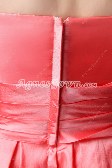 Strapless A-line Mini Length Watermelon Prom Party Dress
