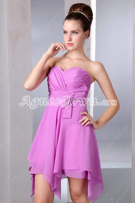 Cute Sweetheart High Low Lilac Homecoming Dress