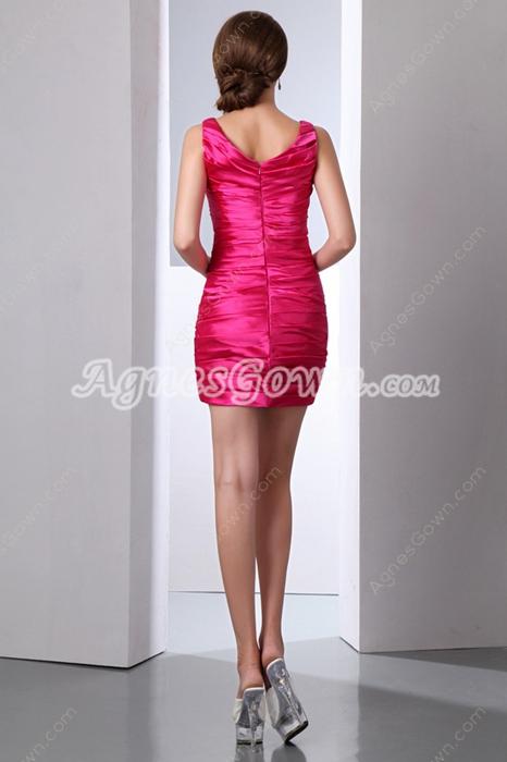 Sexy Mini Length Hot Pink Nightclub Dress