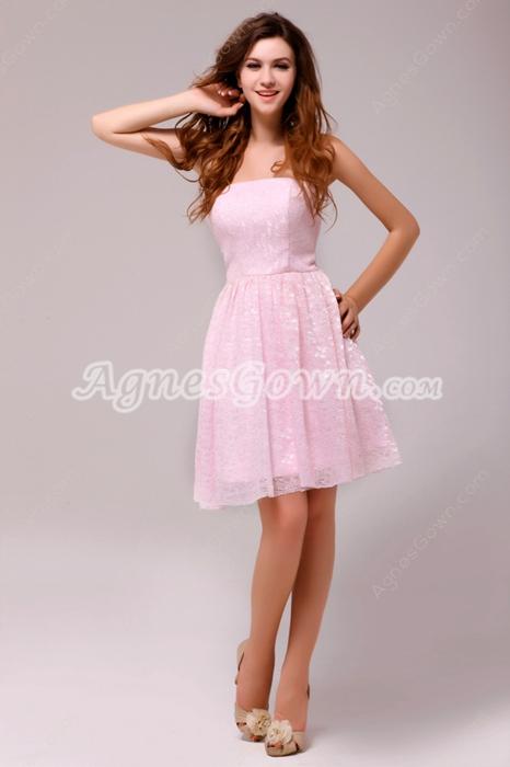 Sassy Short Length Pink Lace Junior Bridesmaid Dress