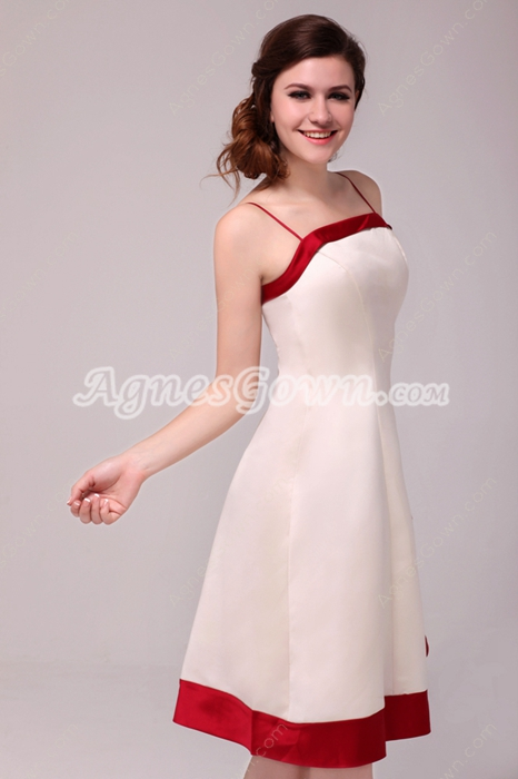 Colorful Spaghetti Straps Knee Length Beige & Red Wedding Guest Dress