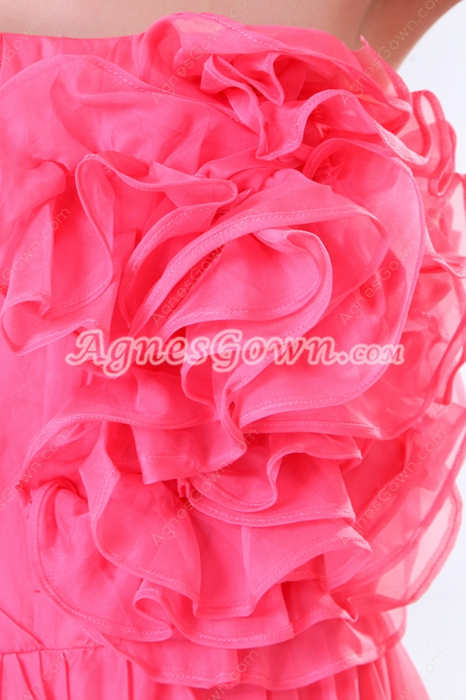 Sassy Ankle Length Fuchsia Prom dress With Floral