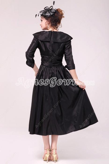 3/4 Sleeves V-Neckline Tea Length Black Mother Of The Groom Dress