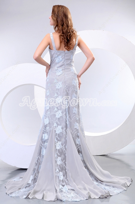 Spaghetti Straps A-line Silver Gray Lace Prom Dress