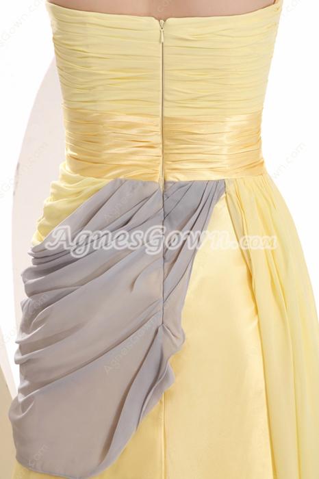 Yellow Strapless A-line Yellow & Silver High School Graduation Dress