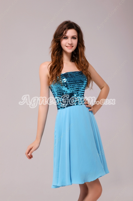 Chic Mini Length Blue Sequined Homecoming Dress