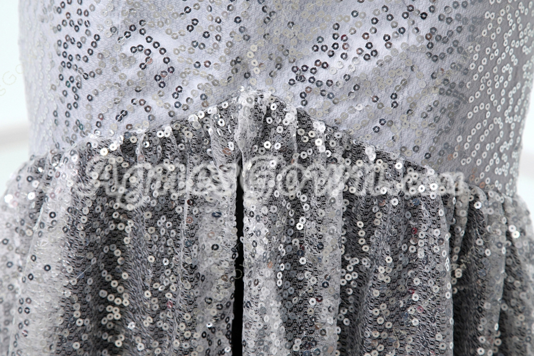Fashionable Strapless Silver & Black Prom Dress Sparkled