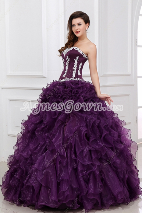 Qualified Purple Ruffled Quinceanera Dress