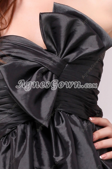 Knee Length Black Taffeta Homecoming Dress