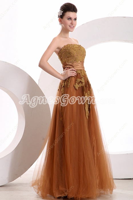 Decent Strapless Puffy Full Length Brown Princess Quince Dress With Lace
