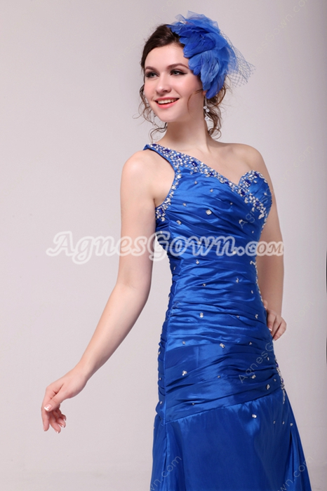 Marvelous One Shoulder A-line Royal Blue Mother Of The Bride Dress With Beads