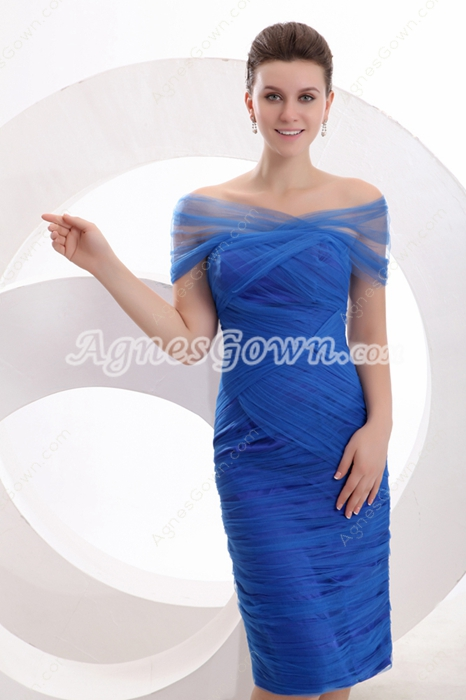 Decent Off The Shoulder Knee Length Royal Blue Wedding Guest Dress