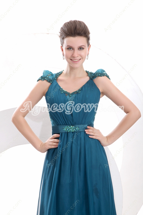 V-Neckline A-line Full Length Teal Colored Engagement Dress Illusion Back