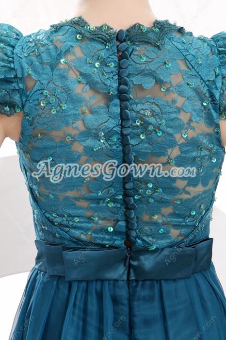 V-Neckline A-line Full Length Teal Colored Engagement Dress Illusion Back