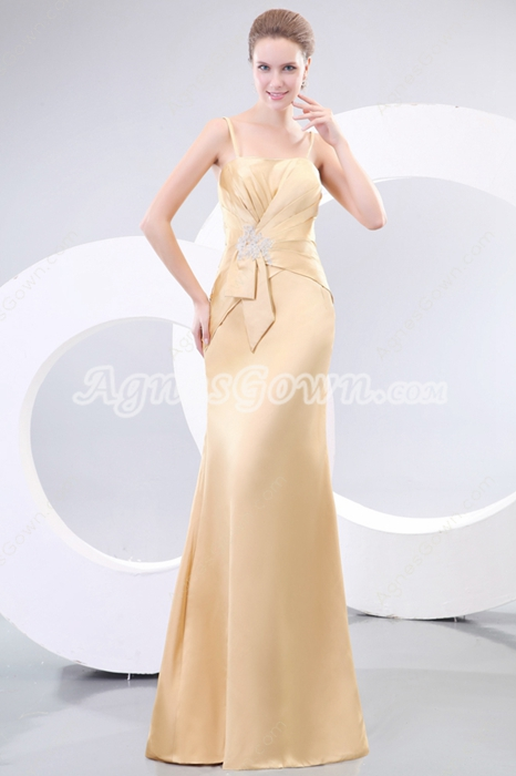 Elegance Spaghetti Straps Champagne Mother Of The Bride Dress
