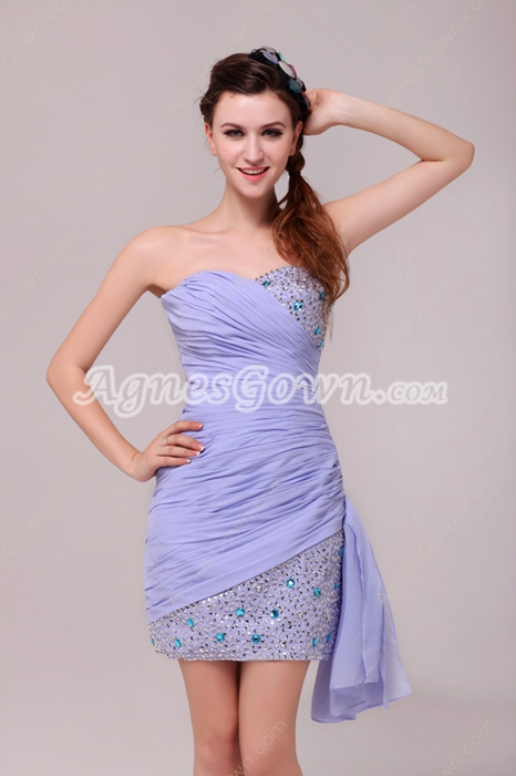 Wonderful Sheath Mini Length Lavender Cocktail Dress