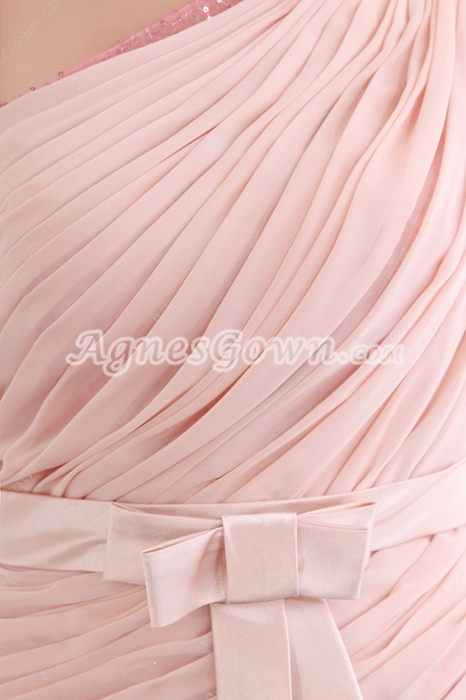 Unique One Shoulder Half Sleeves Sheath Wedding Guest Dress