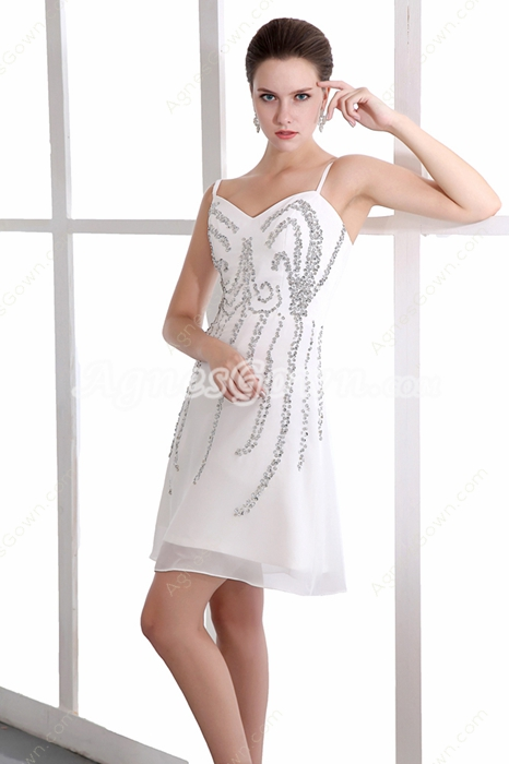 New Style Spaghetti Straps Mini Length Chiffon Little White Dress