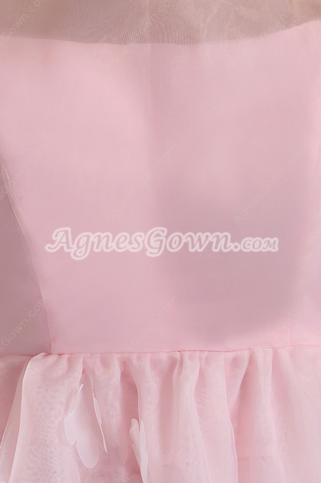 Jewel Neckline Pink Organza Princess Quinceanera Dress