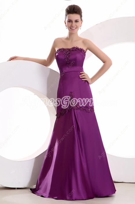 Fantastic Trumpet/Mermaid Full Length Purple Prom Dress