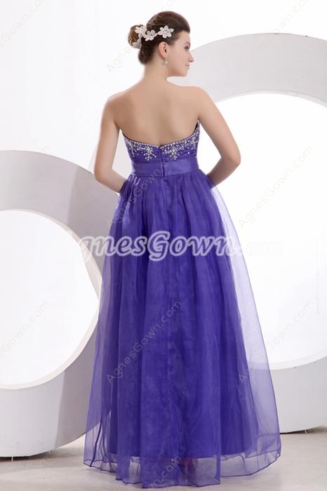 Exquisite A-line Full Length Royal Blue Organza Princess Quinceanera Dress