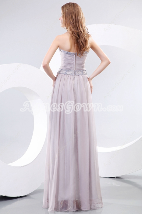 A-line Smoke Gray Chiffon Graduation Dress For College