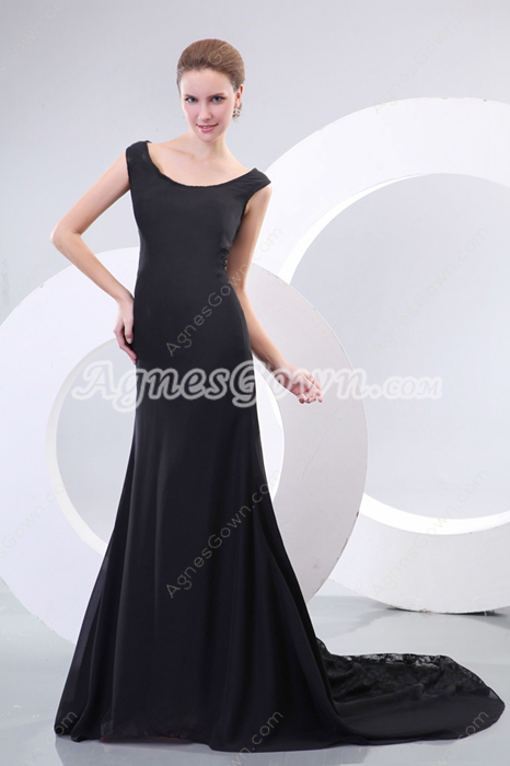 Scoop A-line Black Chiffon & Lace Mother Of The Bride Dress