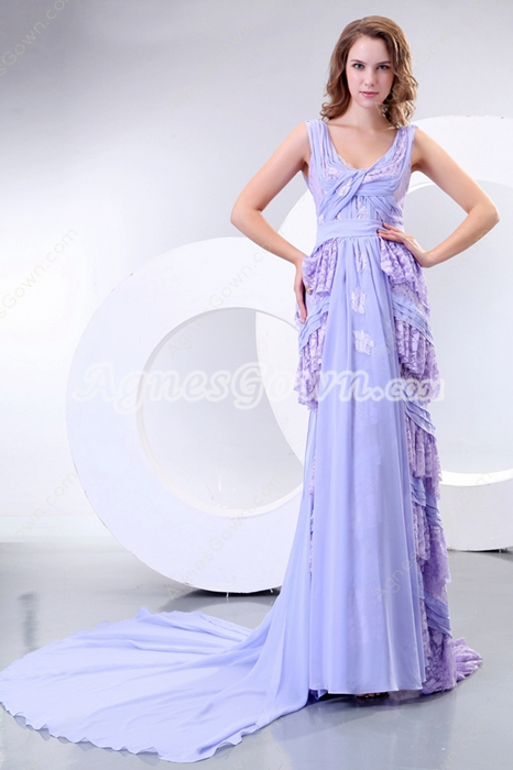 Inexpensive V-Neckline Lavender Prom Party Dress