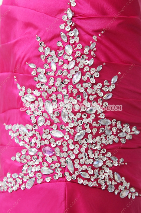 Glamour Sweetheart Fuchsia Satin Prom Party Dress With Great Handwork