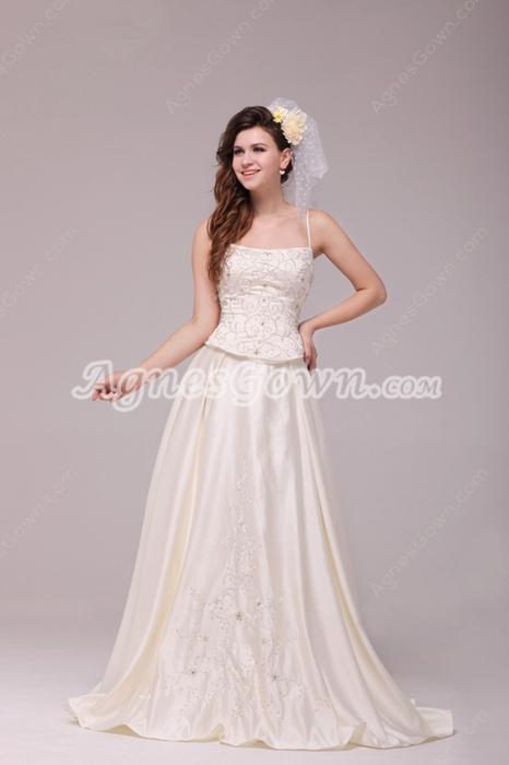 Decent Spaghetti Straps Embroidery Satin Plus Size Wedding Dress