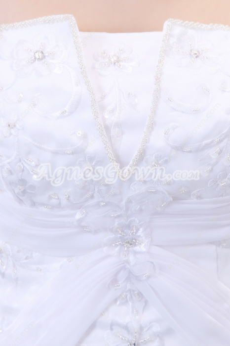 Beautiful A-line Organza Embroidery Wedding Dress Dropped Waist
