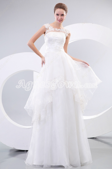 Scoop Neckline Tulle Princess Wedding Dress