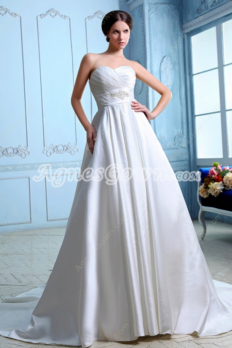 Modest Satin Plus Size Wedding Dress With Buttons