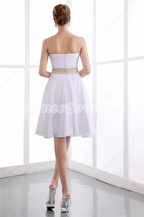 Casual Knee Length White Chiffon Beach Wedding Dress With Champagne Sash