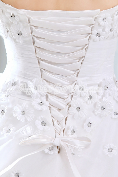 Strapless Ball Gown Daisy Flower Wedding Dress Corset Back