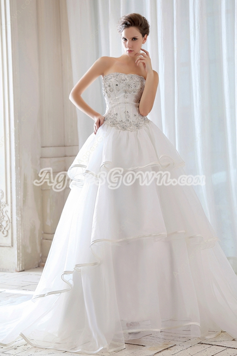 Dipped Neckline Ball Gown Wedding Dress With Basque Waist