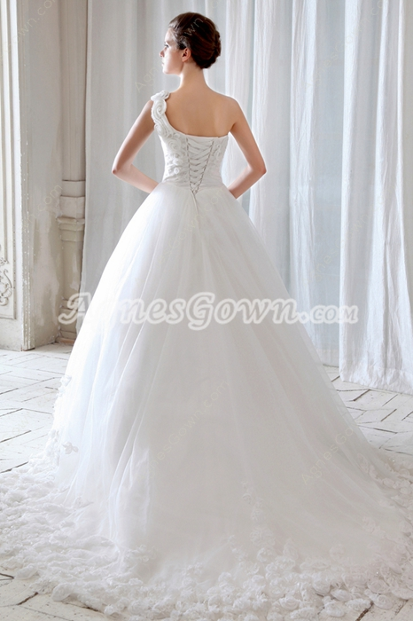 Beautiful One Shoulder White Tulle Cinderella Wedding Dress 2016