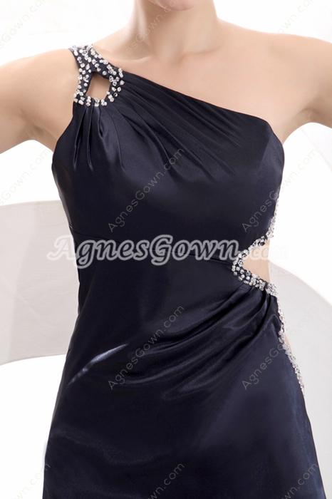 Exquisite One Shoulder Ankle Length Black Cocktail Dress