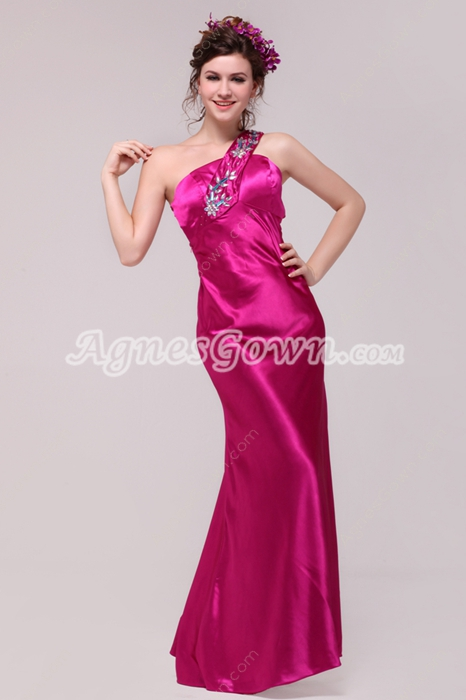Sassy One Straps A-line Fuchsia Satin Graduation Dress With Crystals
