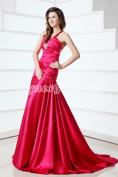 V-Neckline Straps Dropped Waist Fuchsia Prom Dress