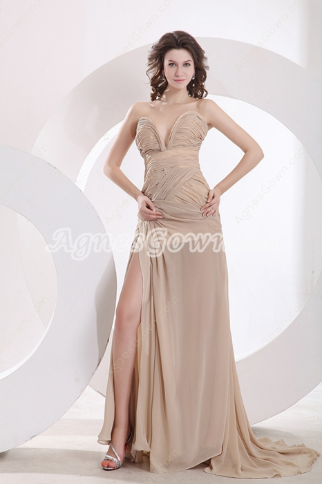 Low-cut Sweetheart Champagne Prom Dress Front Slit