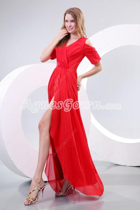 Fantastic V-Neckling Short Sleeves Red Cocktail Dress